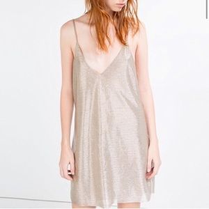 🎉Host Pick!🎉 Zara Metallic Silver Slip Dress